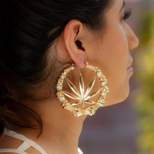 Cannabis Bamboo Hoop Earrings