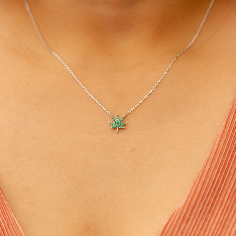 Green Rhinestone Dainty Necklace - Sugar Rose