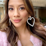 Heart Drop Dangle Earrings - Sugar Rose