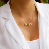 Angel Old English Letter Necklace