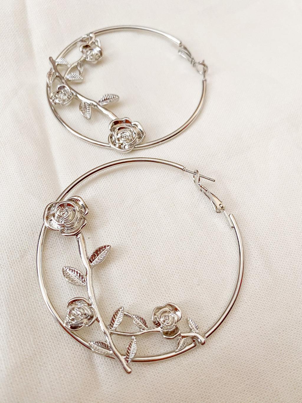 Rose Flower Hoop Earrings