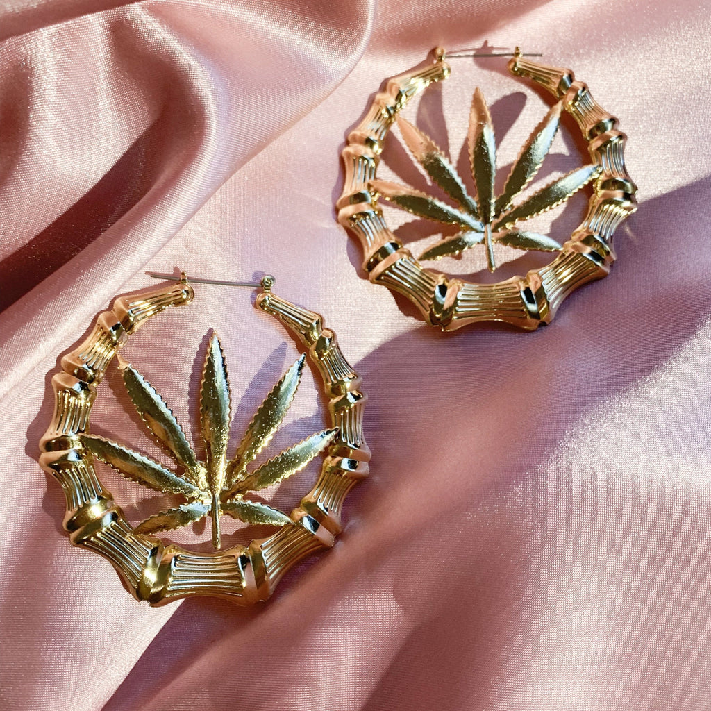 Cannabis Bamboo Hoop Earrings - Sugar Rose