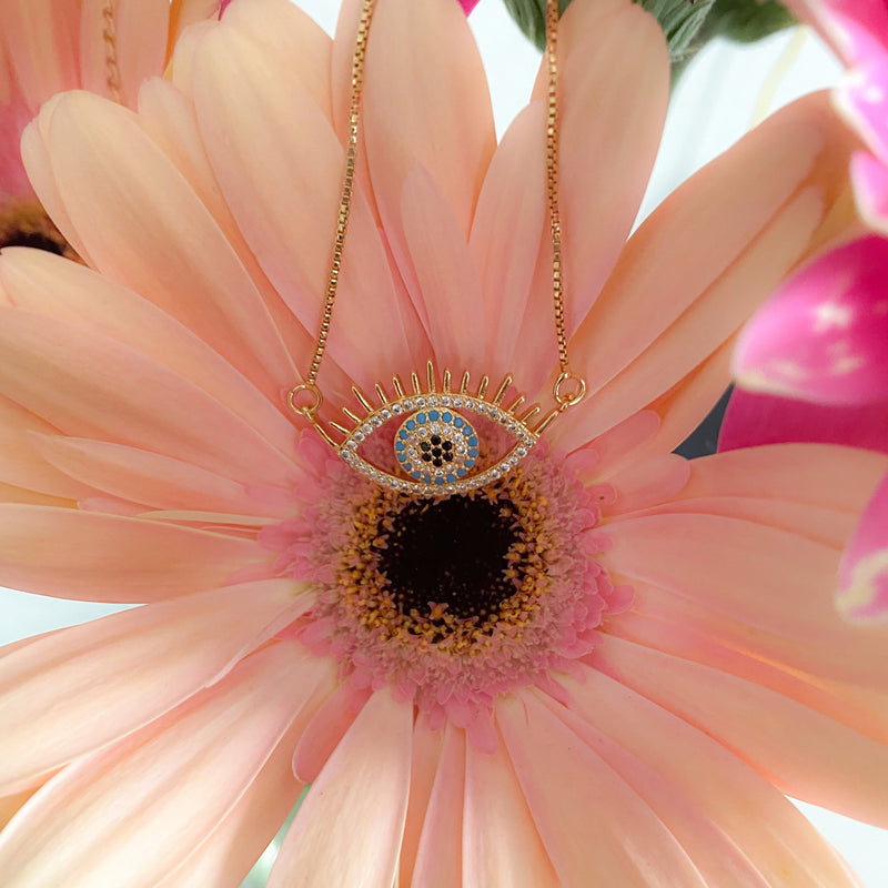 Handmade Evil Eye (Gold Dipped Necklace) - Sugar Rose