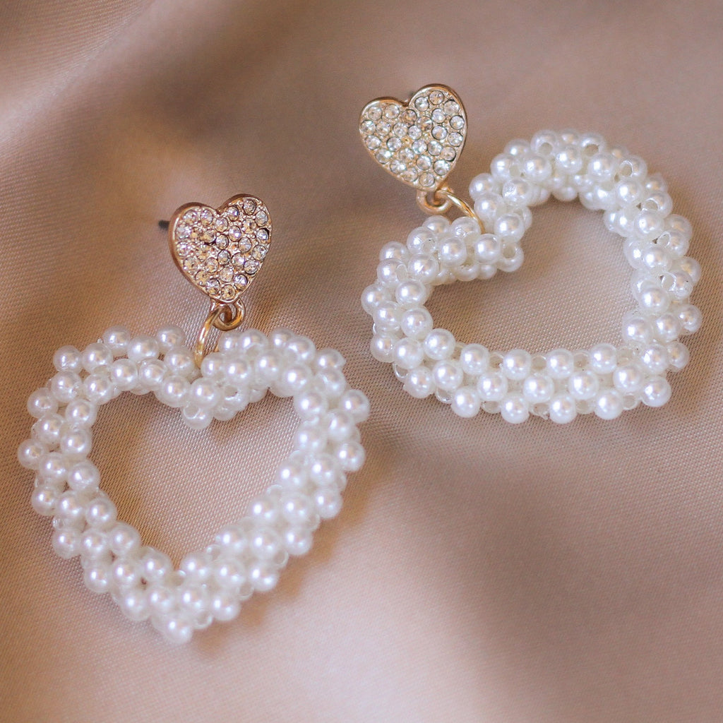 Heart Pearl Earring Drops - Sugar Rose