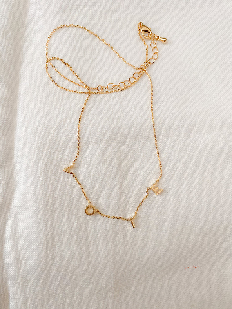 Vote 24k Gold Dipped Necklace - Sugar Rose