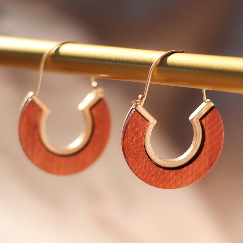 Wooden Hoop Earrings - Sugar Rose