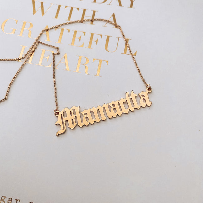 Mamacita Old English Necklace - Gold Dipped - Sugar Rose