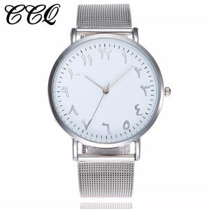 Dropshipping Silver Mesh Watch Unique Arabic Numbers Watches Women Men Stainless Steel Quartz Wristwatches Relogio Feminino white