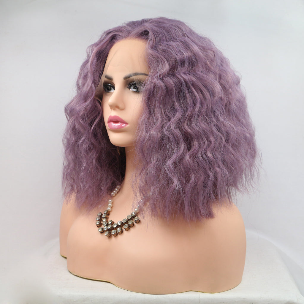 Water Wave Synthetic Lace Front Wig Bob Lavender Wig - Bravozone