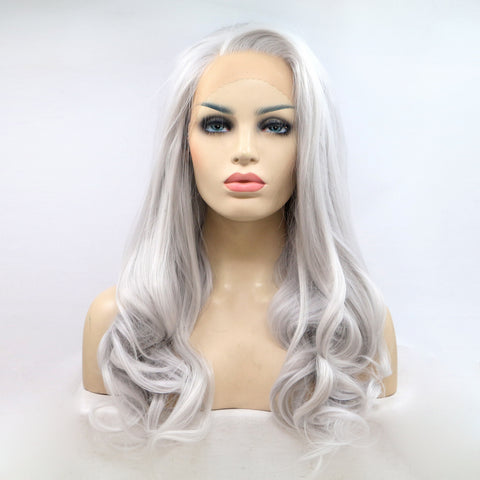 Silver Gray Natural Wave Synthetic Lace Front Wigs - Bravozone