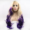 Image of Ombre Blonde To Purple Body Wave Synthetic Lace Front Wig - Bravozone