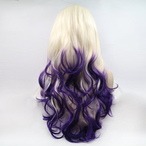 Ombre Blonde To Purple Body Wave Synthetic Lace Front Wig - Bravozone