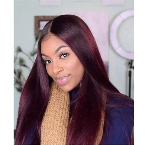 Lace Wigs Density Maroon Color Lace Front Wig - Bravozone