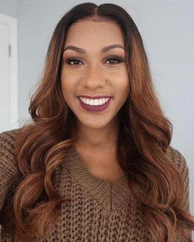 Lace Wigs Front Ombre Highlight Wavy - Bravozone