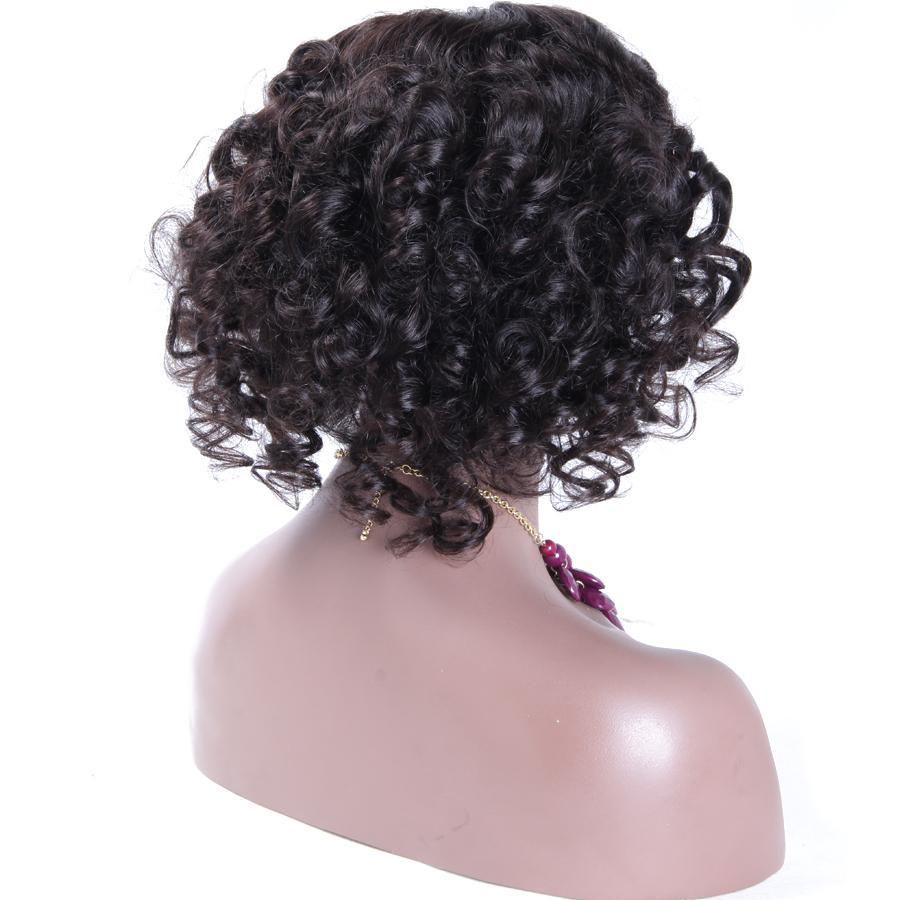 "12"" Lace Wigs Front Curly Wig Natural Color - Bravozone"