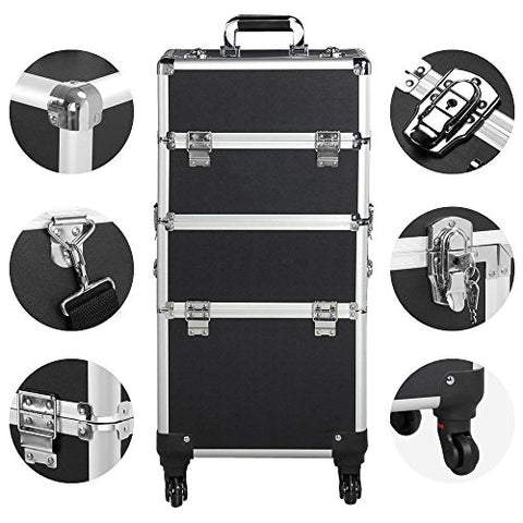 3-in-1 Professional Aluminum Artist Rolling Trolley Makeup Train Case - Bravozone