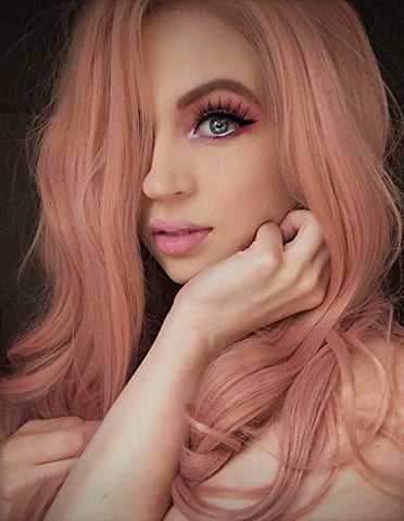 22 Inch Fashion Orange Pink Lace Wig Mixed Color Glueless - Bravozone