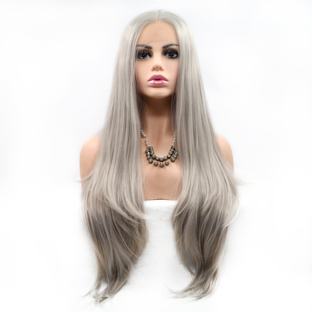 Light Gray Synthetic Lace Front Wig - Bravozone