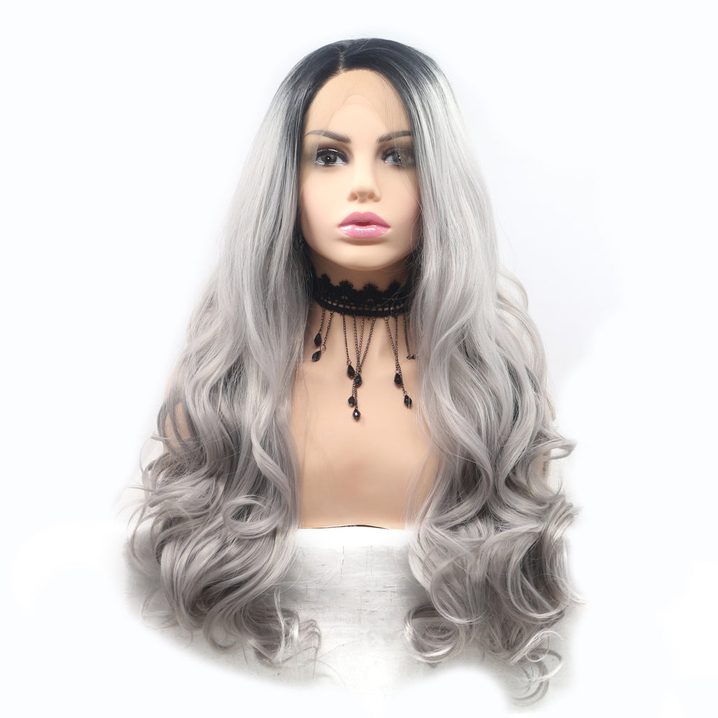 Black Root Light Gray Ombre Synthetic Wig Lace Front Hair - Bravozone