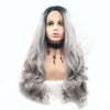 Image of Black Root Light Gray Ombre Synthetic Wig Lace Front Hair - Bravozone