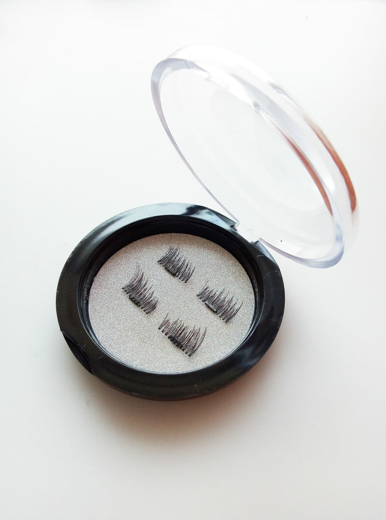 False Eyelashes, 2 Pair of 3D Reusable False Magnet Eyelashes Magnetic - Bravozone