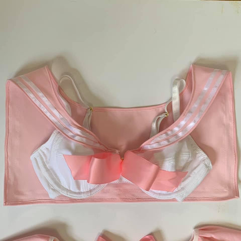 Silky Rose Pastel Monochrome Grey with Mesh Bra 30-40 AAA-DDD