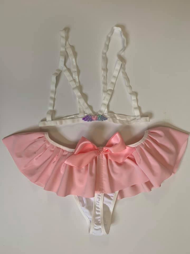 Pink Heart with Wings White Harness Cage Bralette XS-3X