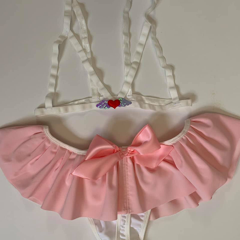 Heart with Wings White Harness Cage Bralette XS-3X