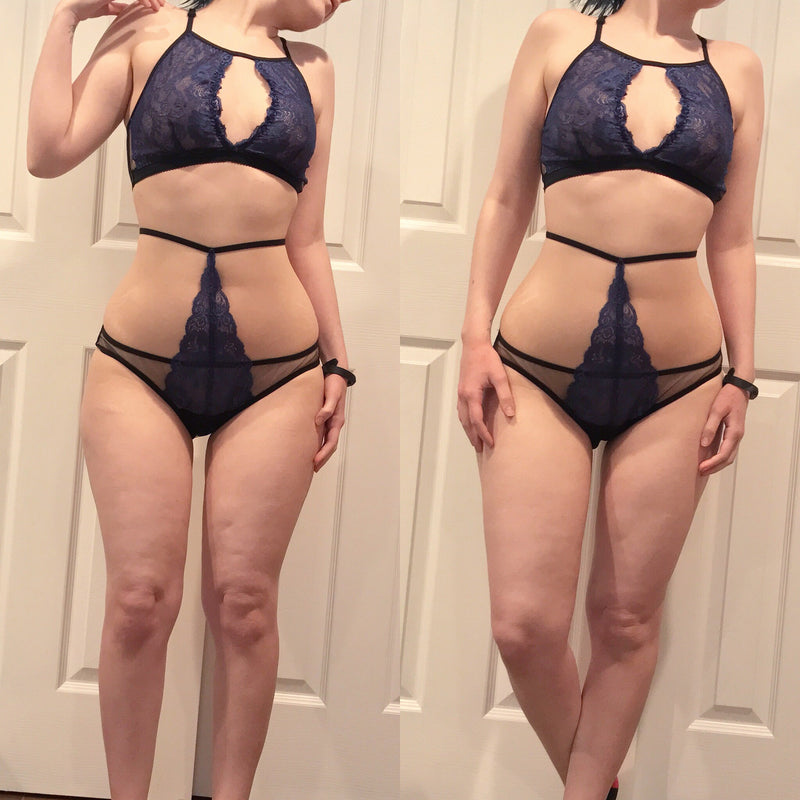 Black sheer mesh panties with blue lace strappy harness XS-XL