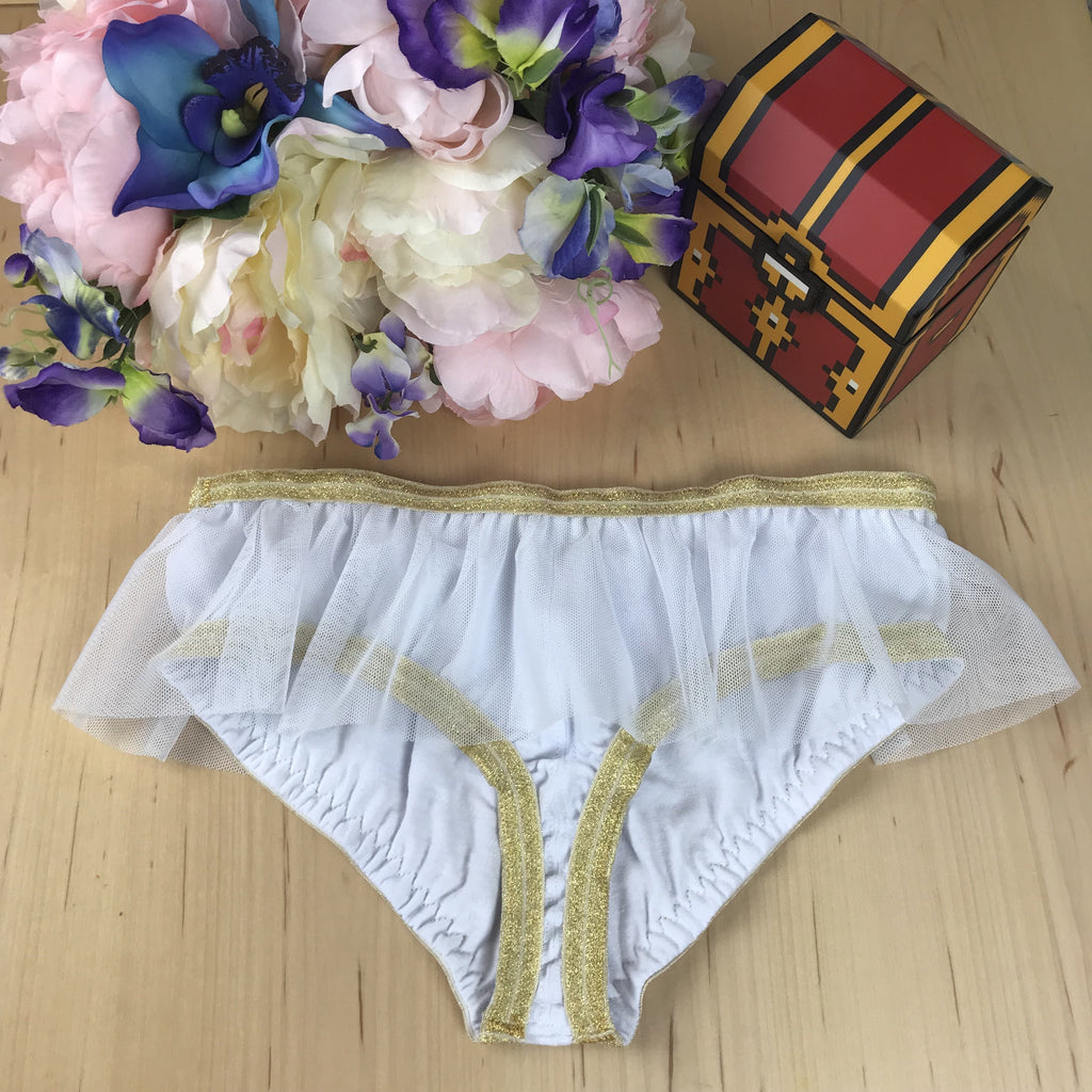Sheer Mesh Skirted Panties with Gold Elastic Edge XS-3X Twilight Princess