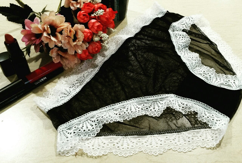 Sheer Black Mesh White Lace Panties XS-3X Minimalist Gothic Aesthetic Lingerie