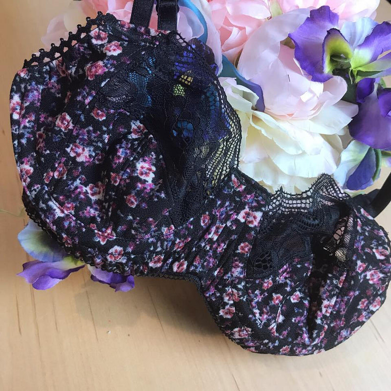 Black and Purple Floral And Lace Bra with Sheer Back 30-40 AAA-DDD