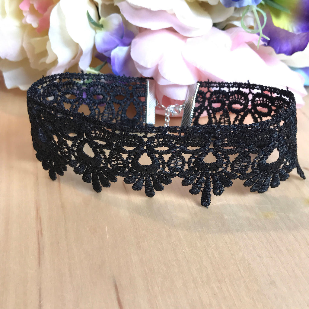 Gothic Black Lace Choker Collar Necklace Adjustable Length