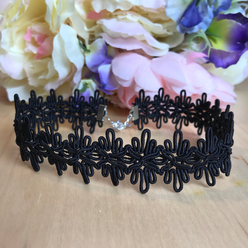 Black corded lace choker collar adjustable necklace