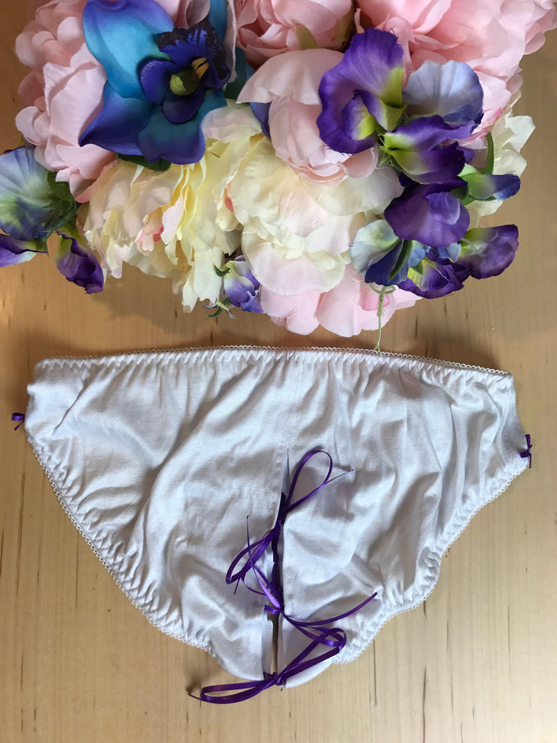 Untie Me White and Purple Crotchless Panties XS-L