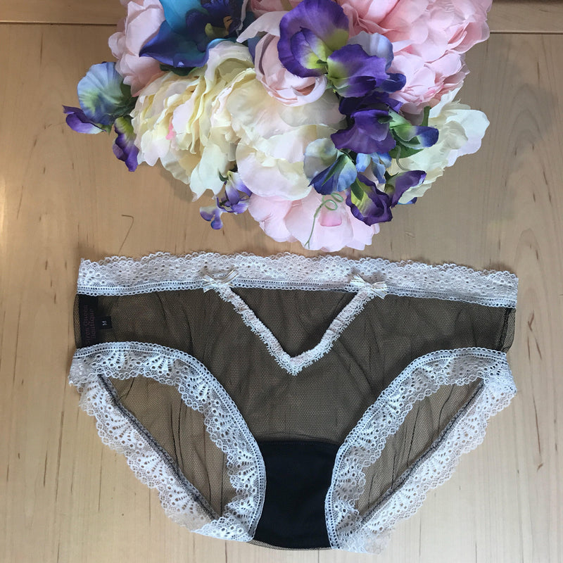 Sheer Black Mesh Bikini Style Panties White Lace Edge Detail with Bows XS-3XL bridal aesthetic lingerie