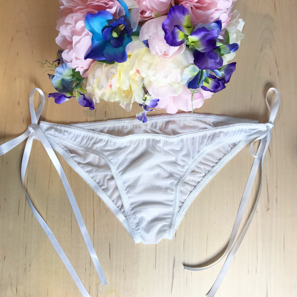 Satin Ribbon Tie Side Sheer White Mesh Bikini Style Panties XS-3XL bridal aesthetic lingerie