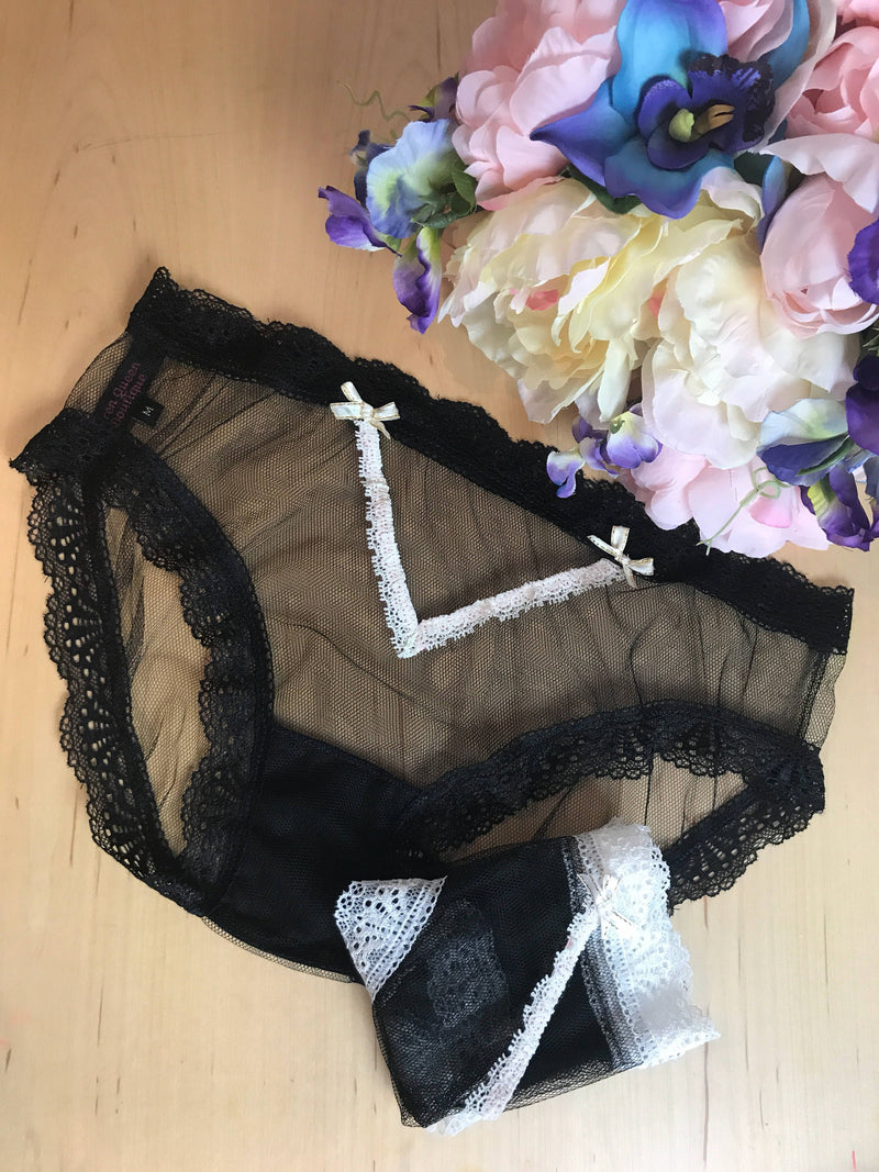 Sheer Black Mesh Bikini Style Panties Lace Edge With Bows XS-3XL bridal aesthetic lingerie