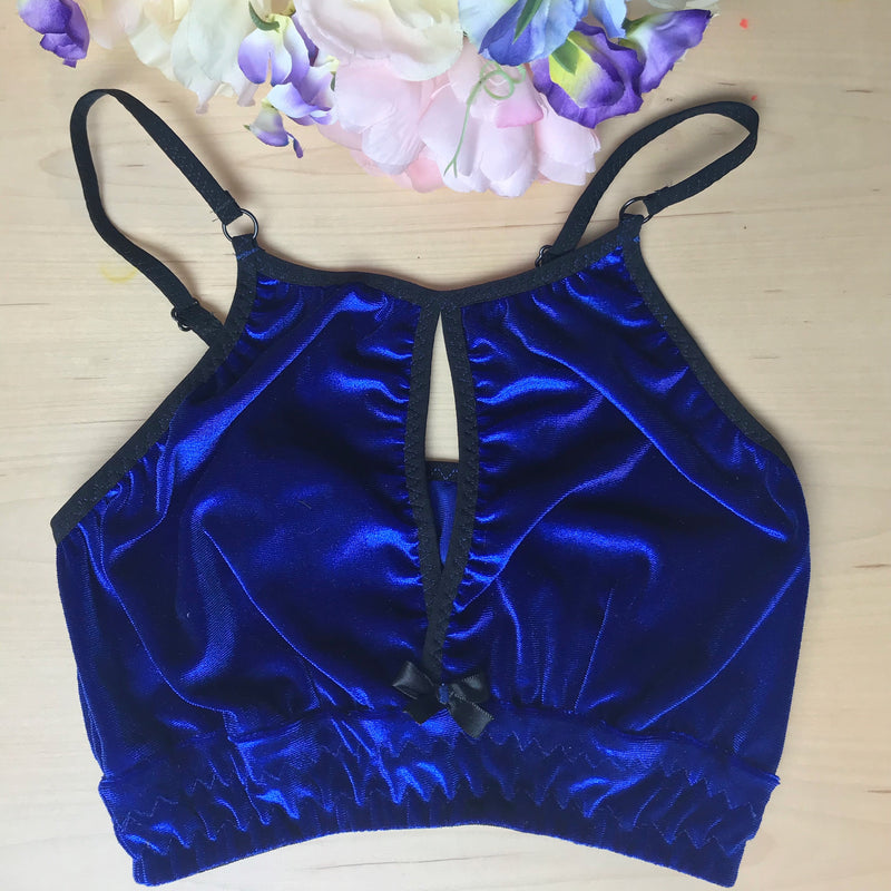 Front Cut Out Velvet Bralette High Neck Longline Style