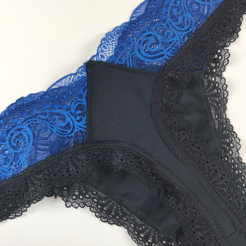 Blue Lace Black Thong S-L Minimalist Elegant Black Sexy Lingerie Bridal Aesthetic Lingerie Something Blue Thong Lingerie