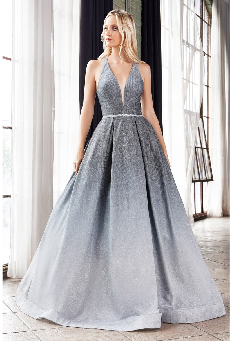 BALL GOWN WITH HALTER NECKLINE AND OMBRE GLITTER FINISH