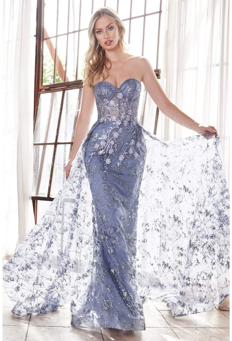 STRAPLESS FITTED GOWN WITH FLORAL APPLIQUE AND GLITTER TULLE OVERSKIRT