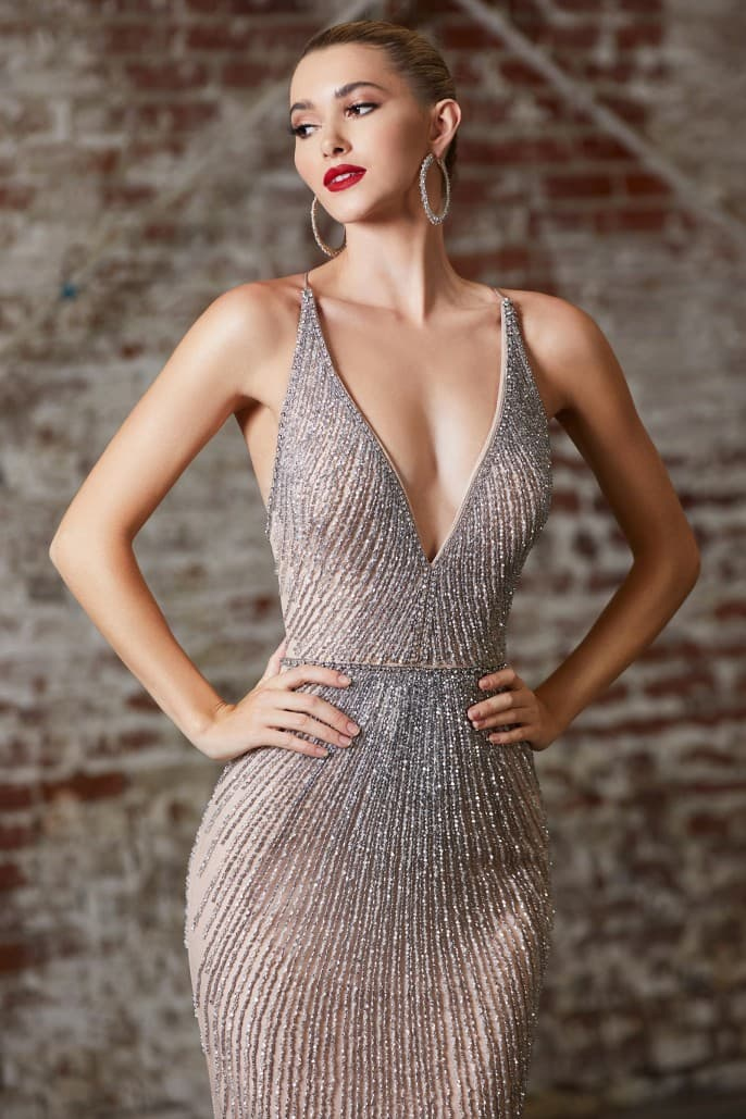 FITTED FULLY EMBELLISHED GOWN WITH DEEP V-NECKLINE AND OPEN CRISS CROSS CORSET BACK