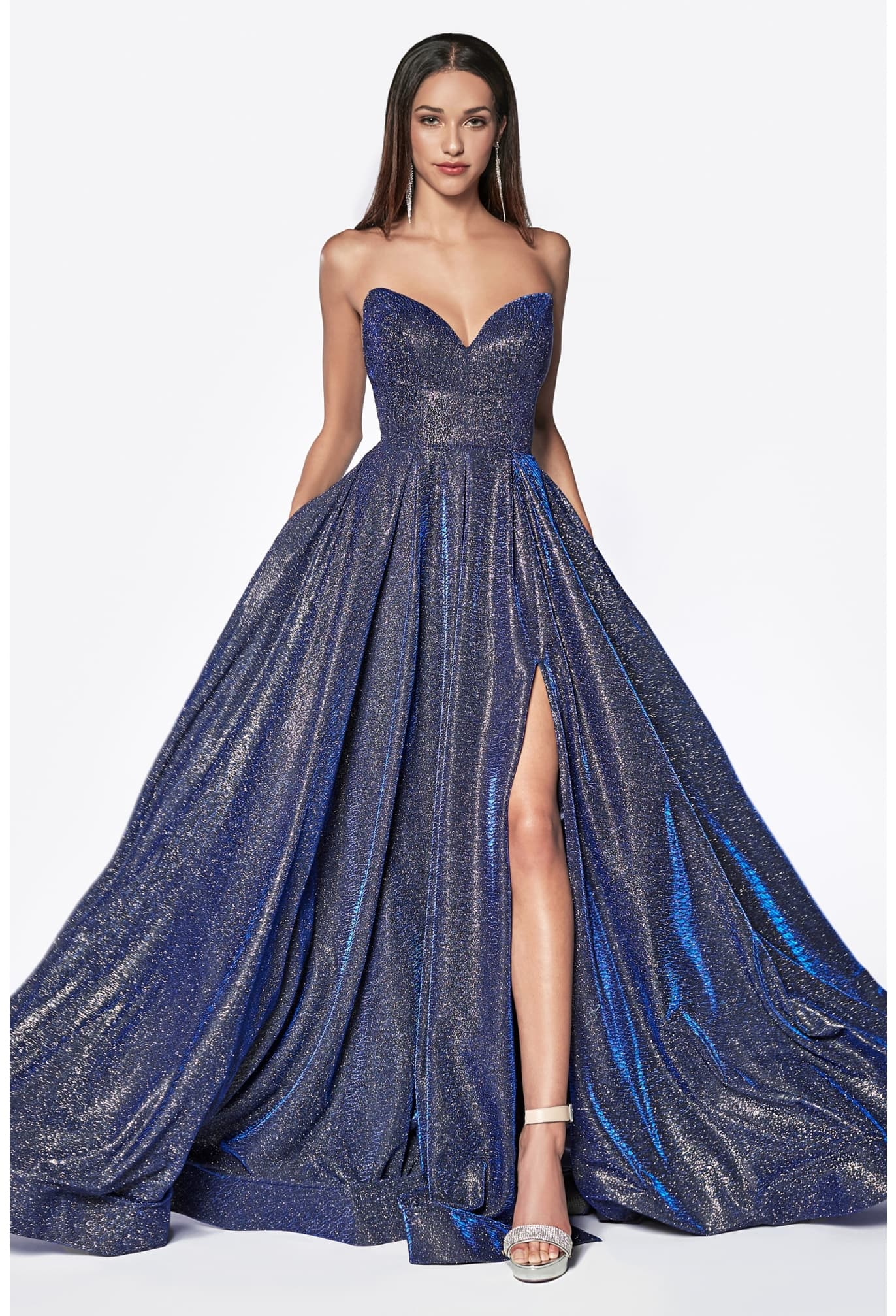 STRAPLESS GLITTER BALL GOWN WITH SWEETHEART NECKLINE AND LEG SLIT