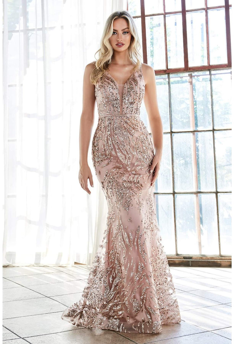 SLIM FIT GOWN WITH GLITTER PRINT PATTERN AND DEEP V-NECKLINE