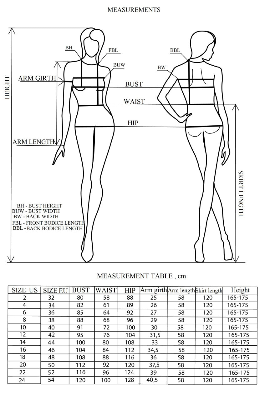 Illustration for size chart for bridal gowns