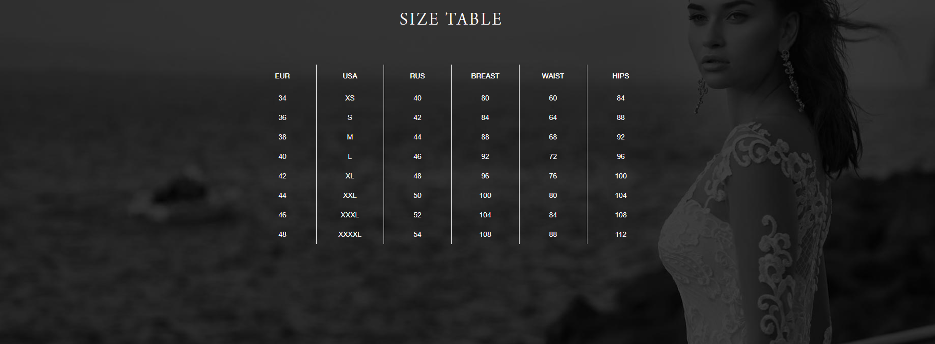Size Chart for KC Collection