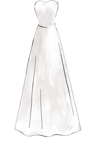 A line wedding dress guide: Trim on the top with a skirt that widens gradually.