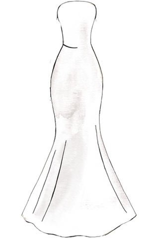 Mermaid / Trumpet silhouette guide to a wedding dress Slim through the bodice and hips before flaring out.