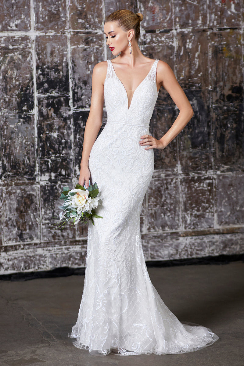 Fully beaded v-neck gown with stretch lining is elegantly simple yet glamorous. Sheer strap and soft back tail of the gown gives lightness to the gown while the subtle beadwork at waist narrows the figure
